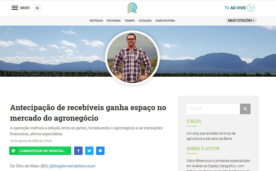 Canal Rural – Antecipação de recebíveis ganha espaço no mercado do agronegócio