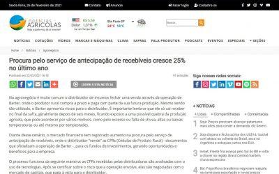 Notícias Agrícolas – Procura pelo serviço de antecipação de recebíveis cresce 25% no último ano